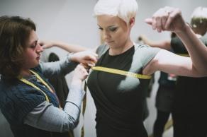 Kirstie being measured