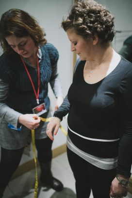 Heather being measured